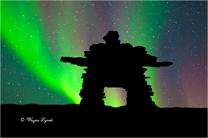 Inukshuk & the Northern Lights by Dr. Wayne Lynch ©